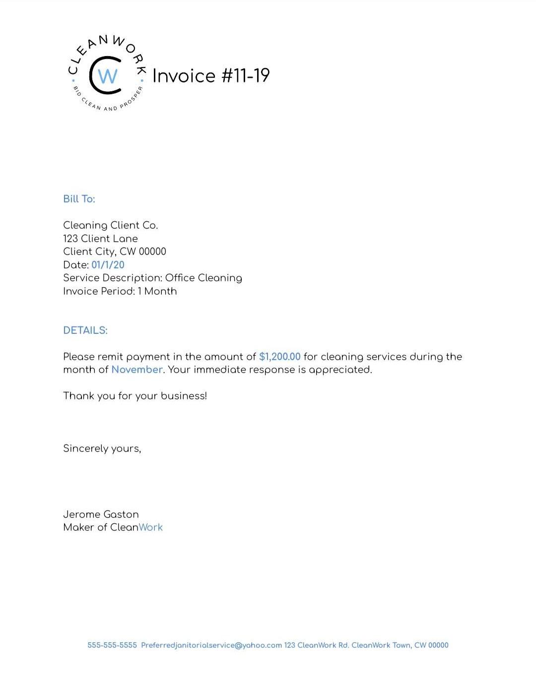 CleanWork invoice 2