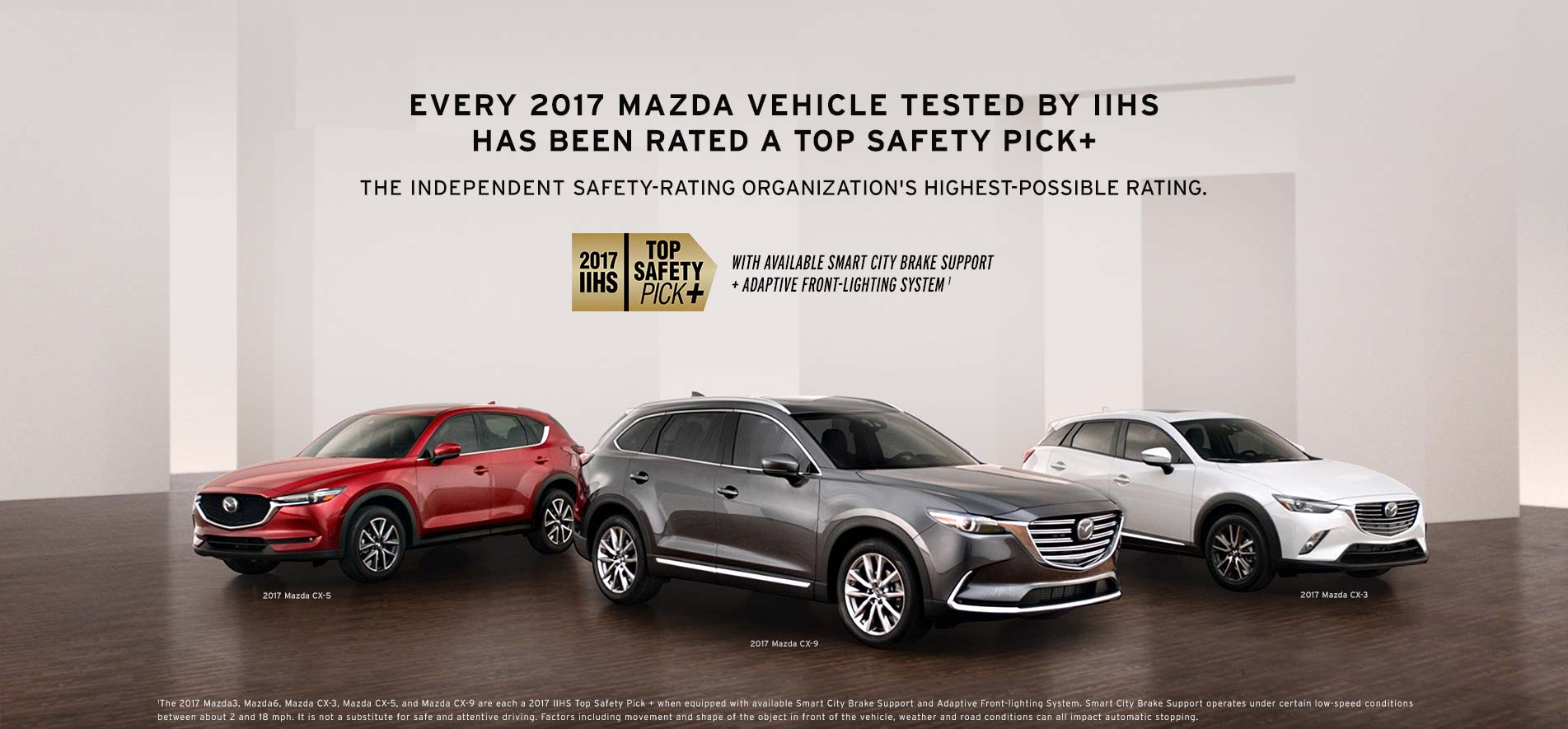 FIVE MAZDAS. FIVE TOP SAFETY PICK PLUS RATINGS