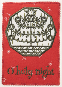 holiday Christmas card, embroidery design applique