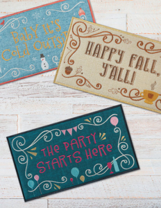 Embroidery Seasonal Welcome Signs on Wood