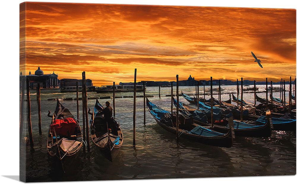 Artcanvas Gondolas Under An Amber Sunset Venice Italy Canvas Art Print Ebay