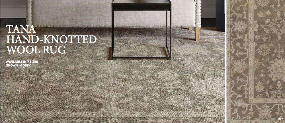 Restoration Hardware Tana Grey Rug 8x10 Brand New Persian Wool 3995