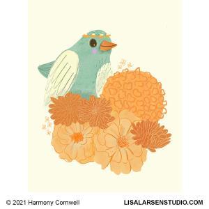 HC21 Teal Bird and Orange Flowers