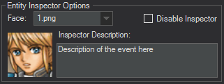 Event Editor entity inspector options enabled