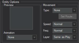 Event Editor entity options