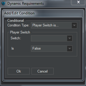 Event Editor add condition to the condition list