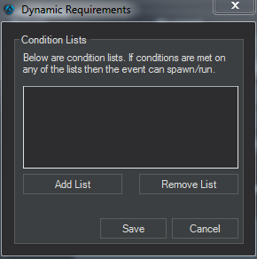 Event Editor conditions list