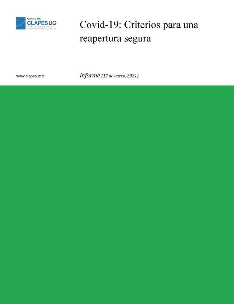 Informe: Covid-19: Criterios para una reapertura segura (12 enero 2021)