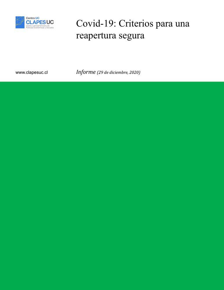 Informe: Covid-19: Criterios para una reapertura segura (29 diciembre 2020)