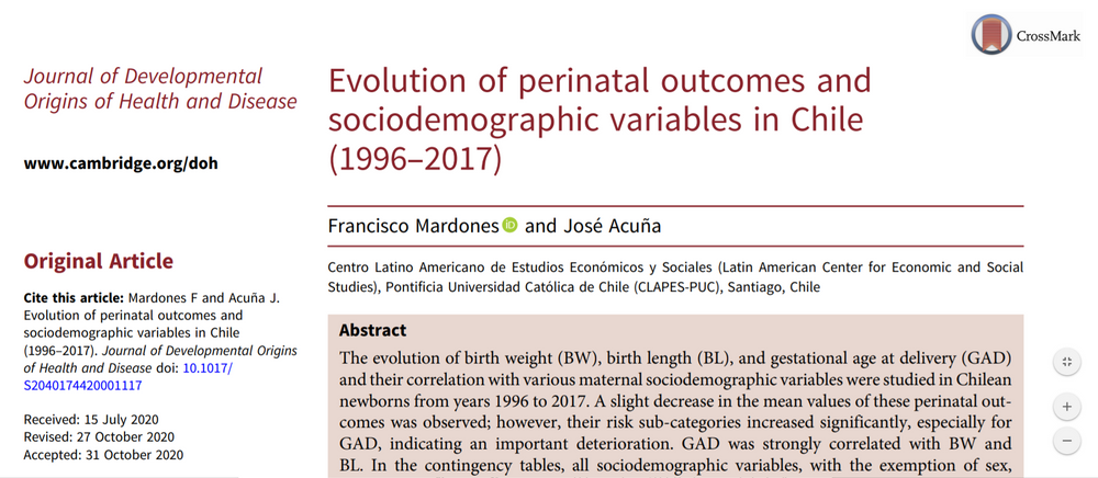Paper: Evolution of Perinatal Outcomes and Sociodemographic Variables in Chile (1996-2017)