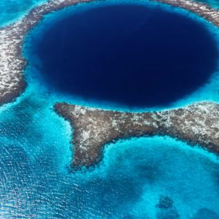 Aerial view of the Blue Hole in Belize