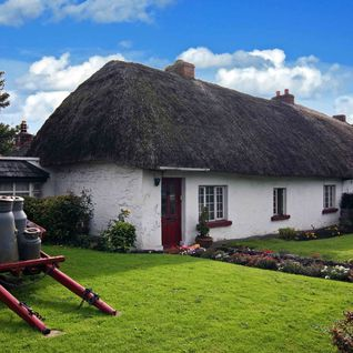 A picture of a traditional Adare, Irish cottage