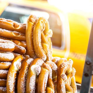 A pretzal stand, New York USA