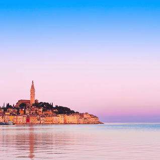 istria rovinj old town sunset in Crotia