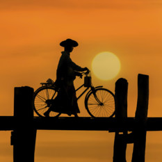 U Bein Bridge in Manadalay in Burma at sunrise