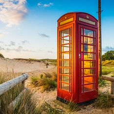 A phone box on the beach