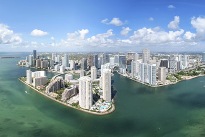 miami skyline from above