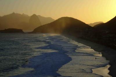 Sunset over beach
