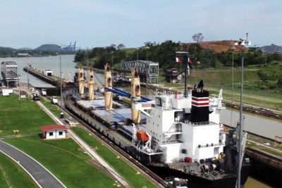 Ship at Panama Canal Lock in Panama City