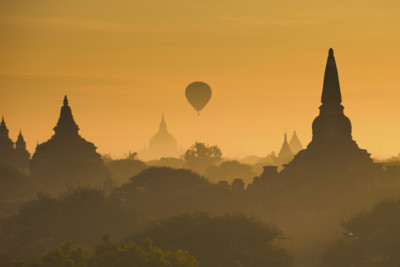 view of temple in burma at sunrise