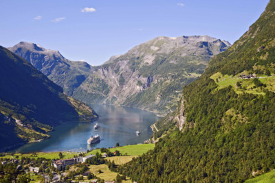 landscape and mountains in geirangerfjord in norway