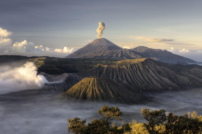 aerial view of mount bromo in java