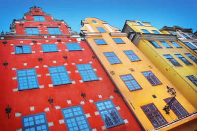 view of multicoloured town houses in stockholm