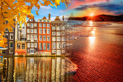 Merge photograph of amsterdam and anguilla