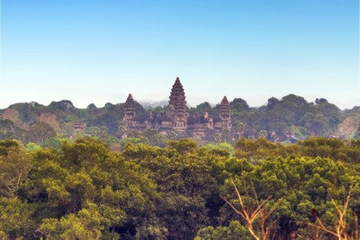 aerial view of angkor wat temple and the surrounding landscape