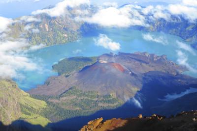 Aerial view of Mount Rinjiani, Asia