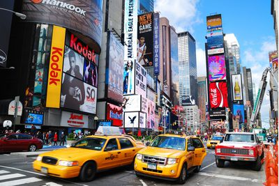 Yellow Cabs in Times Square, New York City USA