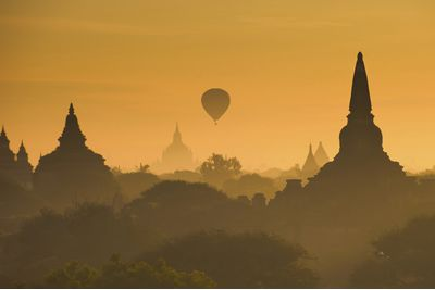 Sunrise at temples in Bagan, Burma