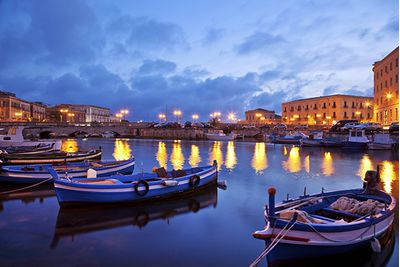 Boats in the evening in Sicily, Italy