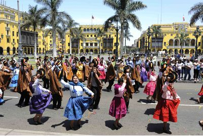 Dancing celebration in a Lima Plaza