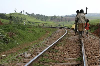 children in uganda on railway track