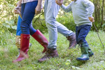 A picture of a families wellies