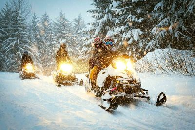 family adventure snowmobile