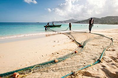 fishing on a beach in grenada