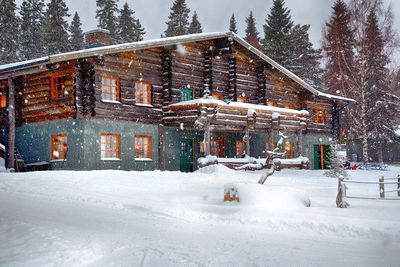 snowy exterior of Brandon Lodge