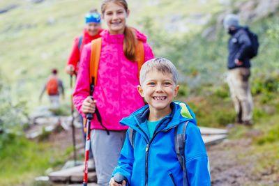siblings hiking