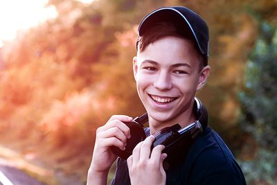 teen boy smiling for photo