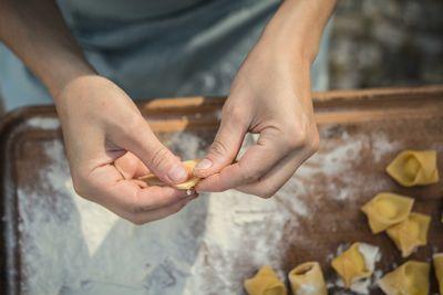 making tortellini in bologna