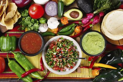 mexican food spread on a table