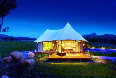 a tent at night time at Kishkinda Camp