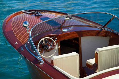 Wooden speedboat in Venice