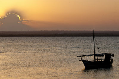 Dhow in the Sea during Sunset