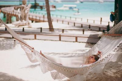 woman in a hammock in the Seychelles