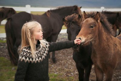 Girl with pony in Iceland
