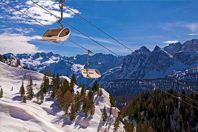 Ski Lift Over The Dolomites
