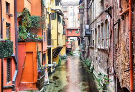 A colourful canal in Bologna